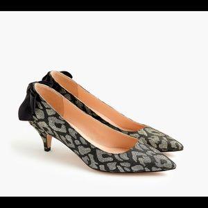 Jcrew Dulci kitten heels in leopard lurex